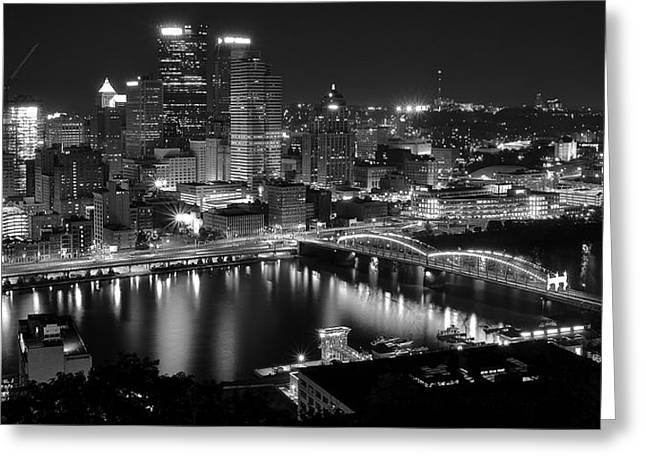 Monongahela River Greeting Cards - A Pittsburgh Night Greeting Card by Frozen in Time Fine Art Photography