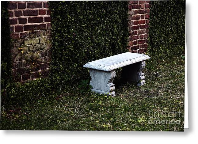 Stone Bench Greeting Cards - A Place to Rest Greeting Card by John Rizzuto