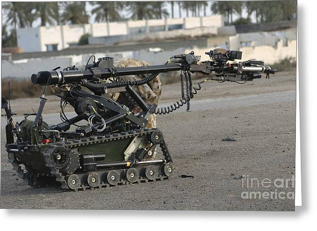 Iraq Greeting Cards - A Remote Controlled Vehicle Used Greeting Card by Andrew Chittock