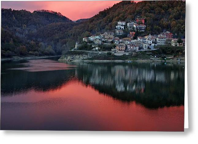 Italian Sunset Greeting Cards - A Rieti Sunset Greeting Card by Mountain Dreams