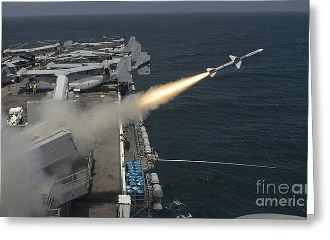 A Rim-7 Sea Sparrow Missile Is Launched Greeting Card by Stocktrek Images