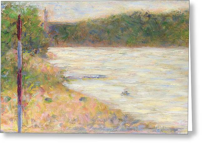 Seurat Greeting Cards - A River Bank Greeting Card by Georges Seurat