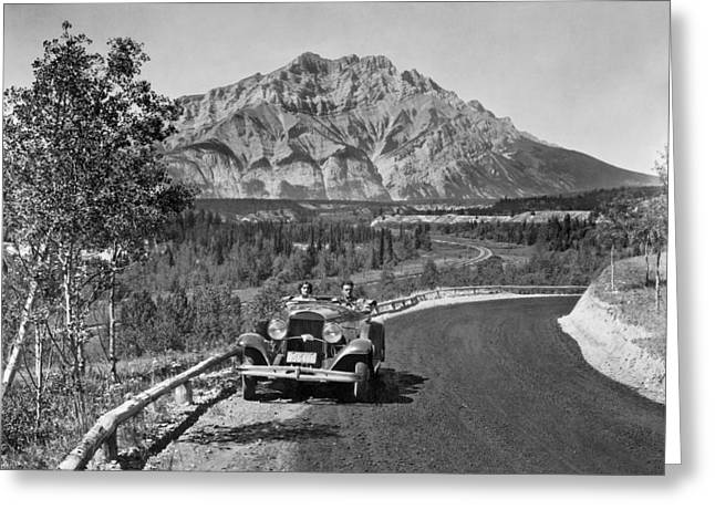Sit-ins Greeting Cards - A Roadster In The Rockies Greeting Card by Underwood Archives