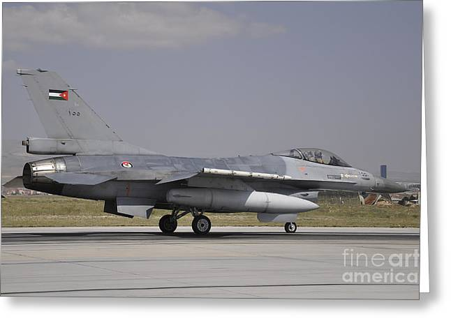 Jordanian Greeting Cards - A Royal Jordanian Air Force F-16am Greeting Card by Giorgio Ciarini