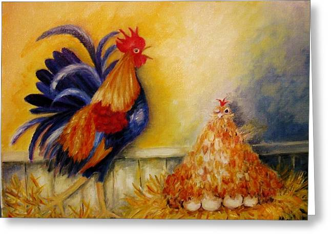 Chicken On Eggs Greeting Cards - A Rude Awakening Greeting Card by Mimi Saint DAgneaux