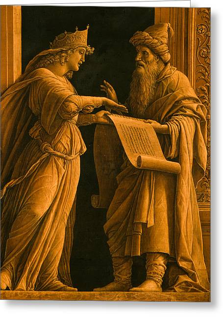 Conversations Drawings Greeting Cards - A sibyl and a prophet Greeting Card by Andrea Mantegna