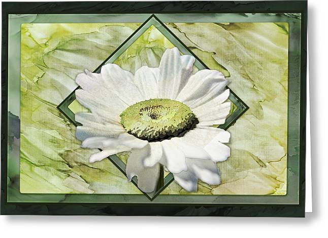 White Digital Art Greeting Cards - A Summer Daisy III with Bleed Greeting Card by AGeekonaBike Photography