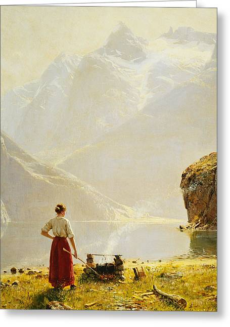 Ravine Greeting Cards - A Summer Day on a Norwegian Fjord Greeting Card by Hans Dahl