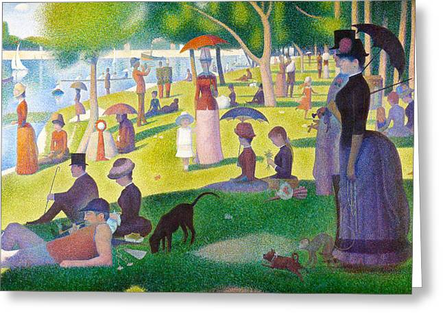 La Grande Jatte Greeting Cards - A Sunday on La Grande Jatte Greeting Card by Georges Seurat