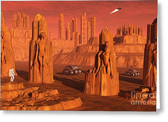 Arid Life Digital Art Greeting Cards - A Team Of Explorers From Earth Greeting Card by Mark Stevenson