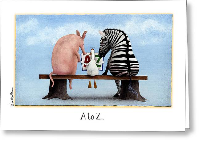 Reading Greeting Card Greeting Cards - A to Z... Greeting Card by Will Bullas