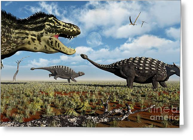 Ankylosaurus Digital Greeting Cards - A Tyrannosaurus Rex Hunting Down A Pair Greeting Card by Mark Stevenson