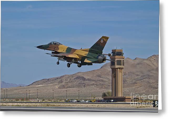 Traffic Control Greeting Cards - A U.s. Air Force F-16 Taking Greeting Card by Scott Germain