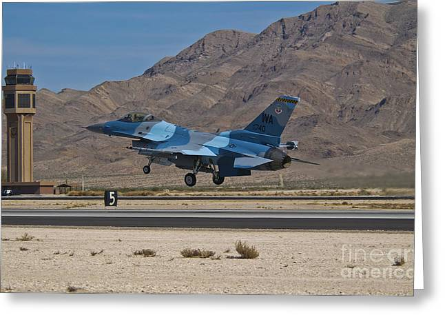 Traffic Control Greeting Cards - A U.s. Air Force F-16c Taking Greeting Card by Scott Germain