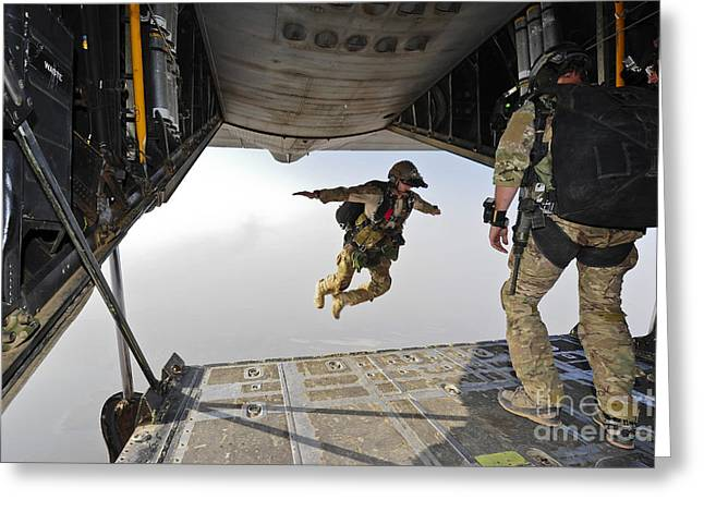 Us Open Photographs Greeting Cards - A U.s. Air Force Pararescueman Jumps Greeting Card by Stocktrek Images