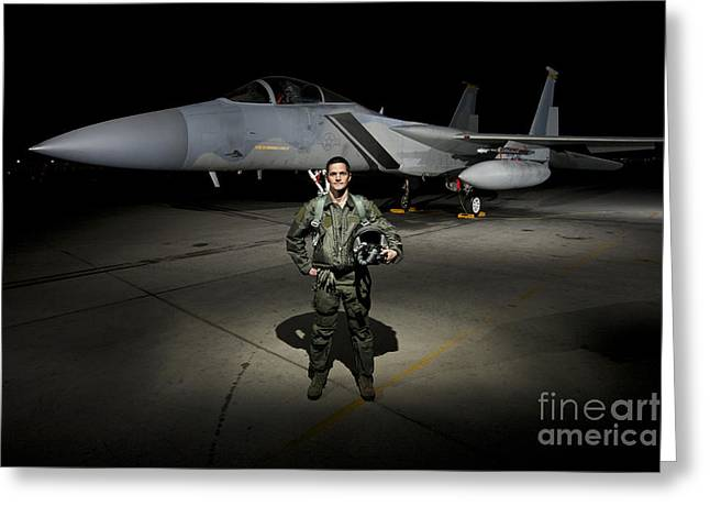 Full-length Portrait Photographs Greeting Cards - A U.s. Air Force Pilot Stands In Front Greeting Card by Terry Moore