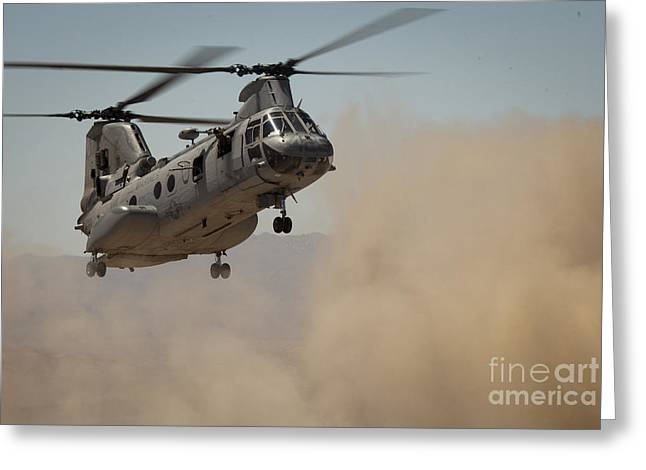 Ch-46 Greeting Cards - A U.s. Marine Corps Ch-46e Sea Knight Greeting Card by Stocktrek Images