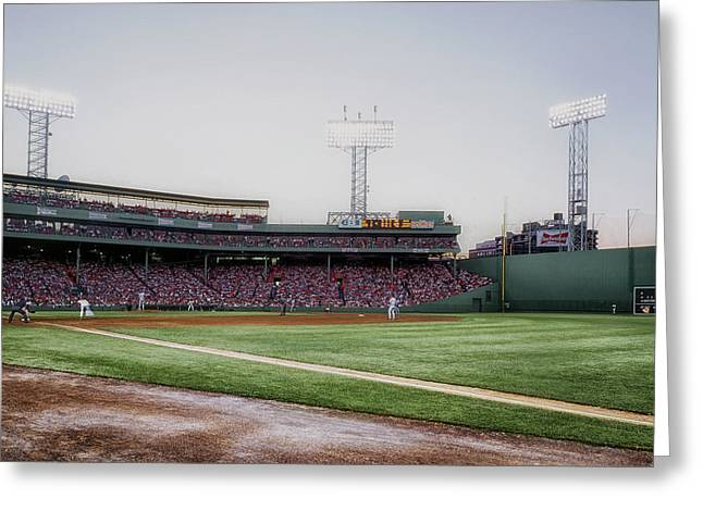 Grandstands Greeting Cards - A View from the Right Field Foul Line in Fenway Greeting Card by Mountain Dreams