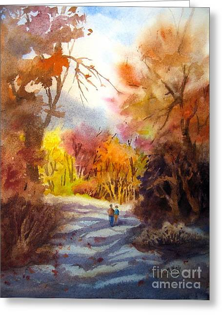 Family Walks Paintings Greeting Cards - A Walk In The Fall Greeting Card by Mohamed Hirji