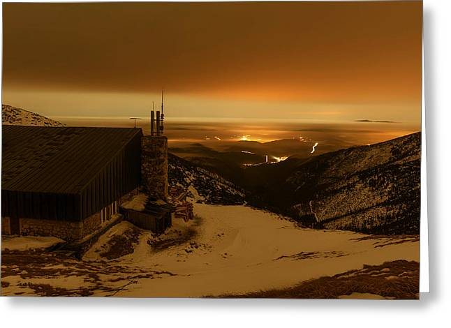 Snowy Evening Greeting Cards - A Winters Sunset Greeting Card by Mountain Dreams