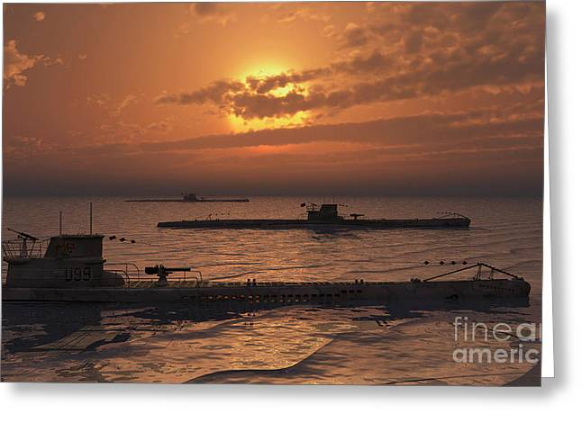 Wolfpack Greeting Cards - A Wolfpack Of German U-boat Submarines Greeting Card by Mark Stevenson