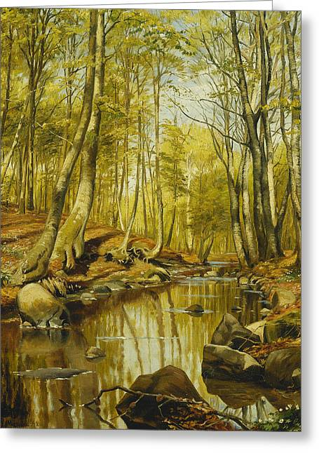 1892 Greeting Cards - A Wooded River Landscape Greeting Card by Peder Monsted