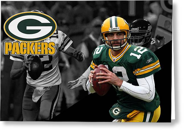 Aaron Greeting Cards - Aaron Rodgers Packers Greeting Card by Joe Hamilton