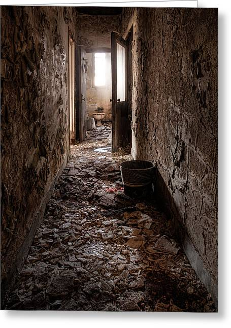 Creepy Greeting Cards - Abandoned Building - hallway to ladies room Greeting Card by Gary Heller