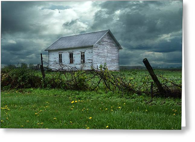 Abandoned Building in a Storm Greeting Card by Jill Battaglia