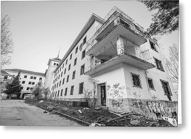 Interior Scene Greeting Cards - Abandoned building in black and white Greeting Card by David Herraez