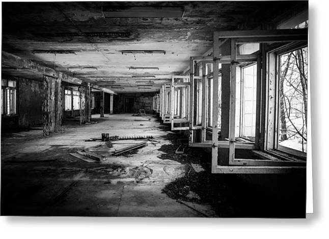 Abandoned House Pyrography Greeting Cards - Abandoned Corridor in Chernobyl Greeting Card by Oliver Sved