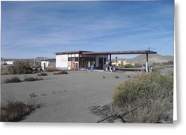 Route 66 Pyrography Greeting Cards - Abandoned Gas Station Greeting Card by Cedrick Bagley