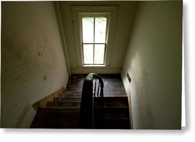 Banister Greeting Cards - Abandoned Stairs Greeting Card by Cale Best