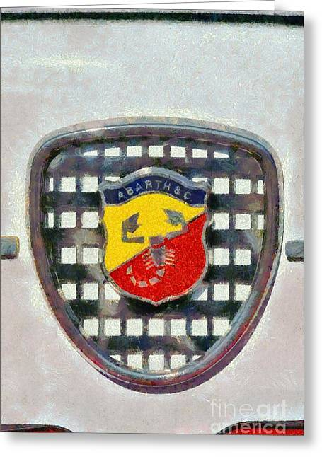 Car Mascot Paintings Greeting Cards - 1980 Abarth 1000TC Greeting Card by George Atsametakis