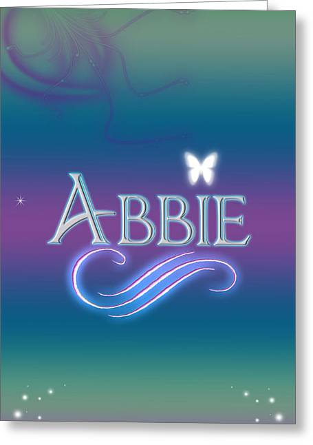 Star Stuff Greeting Cards - Abbie Name Art Greeting Card by Becca Buecher