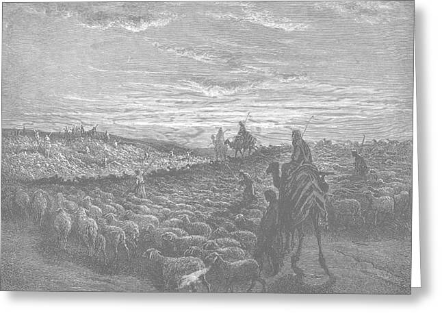 Dore Greeting Cards - Abraham Journeying into the Land of Canaan  Greeting Card by Gustave Dore