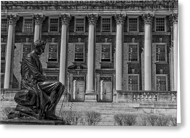 Abraham Lincoln Artwork Greeting Cards - Abraham Lincoln Statue - Syracuse University Greeting Card by Mountain Dreams
