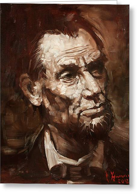 Abraham Greeting Cards - Abraham Lincoln Greeting Card by Ylli Haruni
