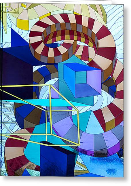 Stained Glass Art Greeting Cards - Abstract Art Stained Glass Greeting Card by Mountain Dreams