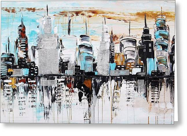 Jolina Anthony Greeting Cards - Abstract City Greeting Card by Jolina Anthony