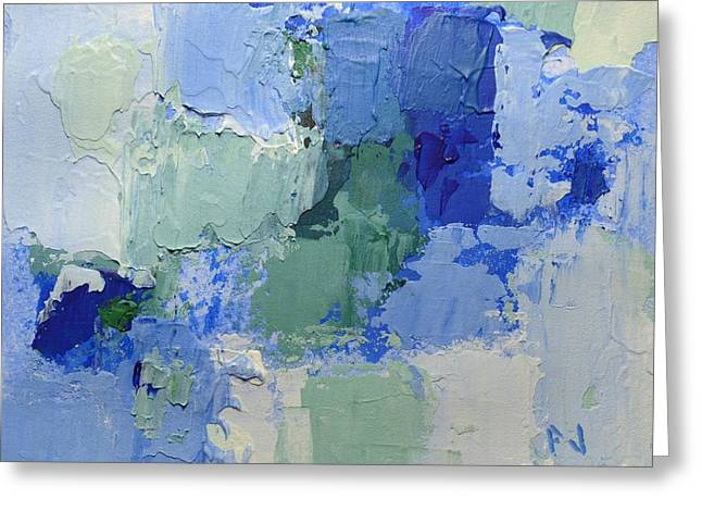 Peace Be Still Greeting Cards -  Be Still and Know that I Am God - Psalm 46 10 - Blue Abstract Painting  Greeting Card by Philip Jones