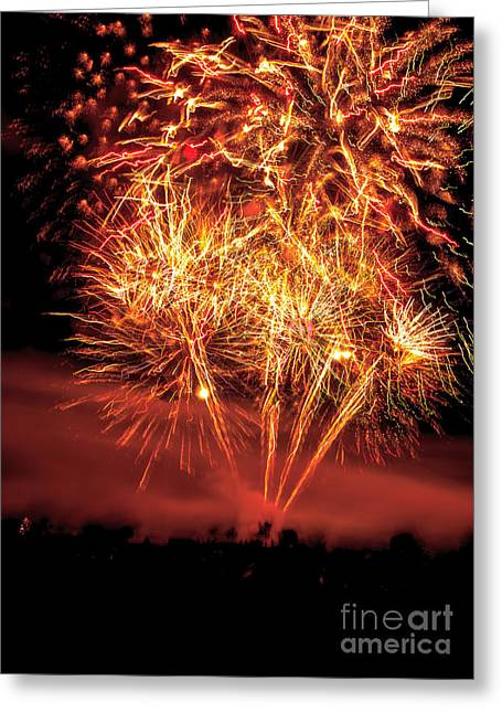 Haybale Greeting Cards - Abstract Fireworks Greeting Card by Robert Bales