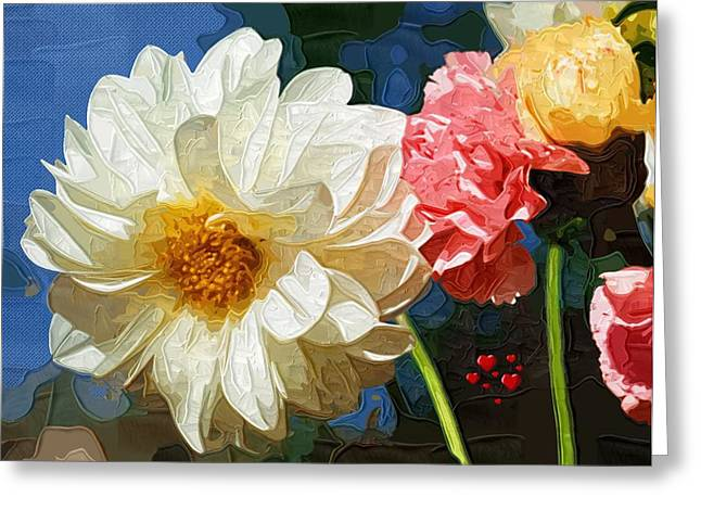 Printables Greeting Cards - Abstract Flowers Painting Greeting Card by Victor Gladkiy