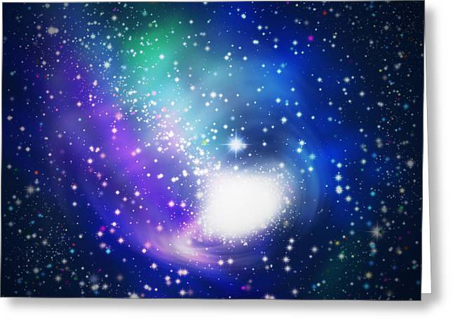Comet Greeting Cards - Abstract Galaxy Greeting Card by Atiketta Sangasaeng