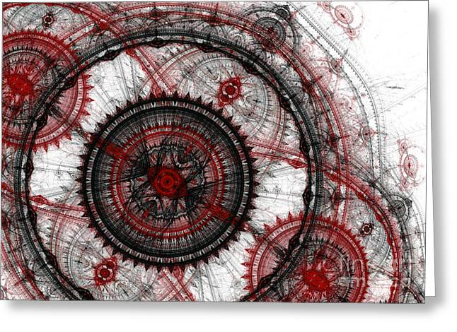 Industrial Background Digital Art Greeting Cards - Abstract mechanical fractal Greeting Card by Martin Capek