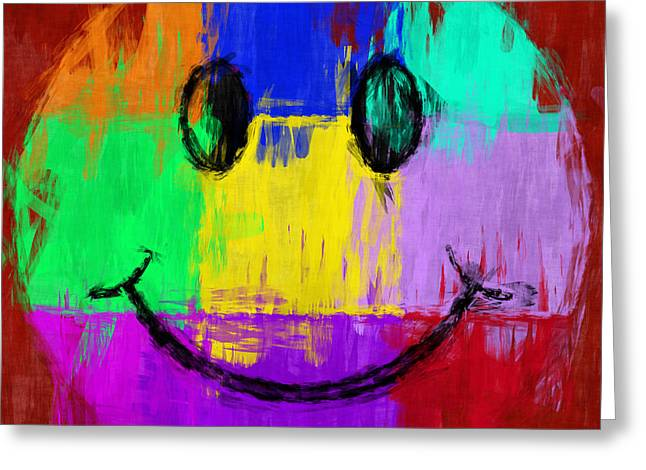 Smiley Faces Greeting Cards - Abstract Smiley Face Greeting Card by David G Paul
