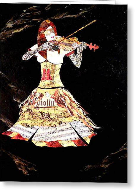 Playing Musical Instruments Mixed Media Greeting Cards - Steampunk Girl Abstract Painting Girl with Violin fashion collage painting Greeting Card by Holly Anderson