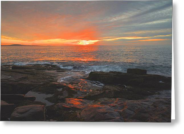 Maine Beach Greeting Cards - Acadia Sunrise Reflections Greeting Card by Stephen  Vecchiotti