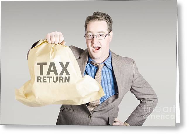 Self-government Greeting Cards - Accountant holding large tax return refund Greeting Card by Ryan Jorgensen
