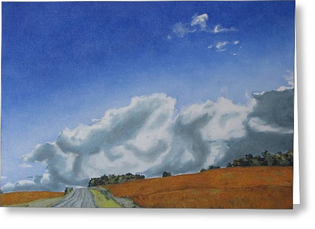 Gravel Road Paintings Greeting Cards - Across A Golden Soya Field Greeting Card by Francois Fournier